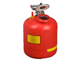 Justrite Safety Can for Liquid Disposal, Built-in Fill Gauge, 5 gal