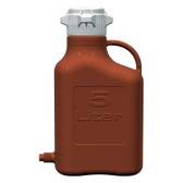 Carboy, Amber HDPE, 5L with Spigot, VersaCap 80mm (83B) EZgrip