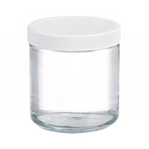 Certified Clean 16oz Clear Glass Sample Jar, Short, case/12