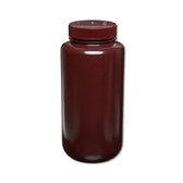 Certified Clean 32oz Amber Sample Bottle, HDPE, Nalgene Wide Mouth, case/12