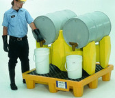 UltraTech Yellow, Horizontal Drum Spill Pallet, 2 Drum System, Choose Drain