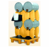 UltraTech, Horizontal Drum Spill Pallet, 4 Drum System, Yellow, Choose Drain