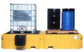 UltraTech Twin IBC Spill Pallet, 1 right side bucket shelf, Drain