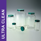 Product Family: Ultra Clean 64oz (1920ml) Clear Wide Mouth Bottles, 83-400 Green PTFE Lined Cap