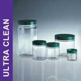 Product Family: Ultra Clean 8oz (240ml) Clear Tall Straight Sided Jars, 58-400 Green PTFE Lined Cap
