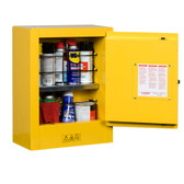 Justrite Sure-Grip Mini Flammable Safety Cabinet, 2 gal, Manual, Yellow