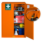 Justrite 860002 Emergency Safety Cabinet with Port, Orange
