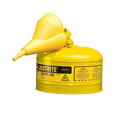 Justrite Safety Can, or without Funnel, 2.5 gal, Type 1