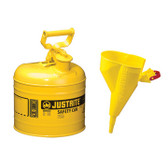 Justrite Safety Can with Funnel, 2 gal, Type 1, Choose Color