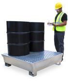 Ultra Steel Spill Pallet, 4 drum, 68 gal sump, 14 gauge P4