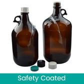 2L Amber Glass Jugs, Safety Coated, case/6