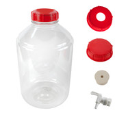 includes a solid cap, an open hole cap, a gasket, a rubber # 10 stopper and (optional) spigot.