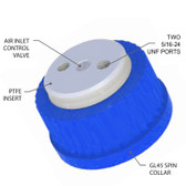 "2-Port Cap, GL45 for 3/16"" tubing, Air inlet valve for Solvent Delivery"