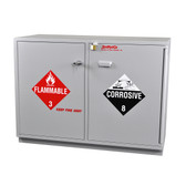 "SciMatCo SC2047 47"" Partially Lined Under-the-Counter Combination Acid/Flammables Cabinet with Self-Closing Door"