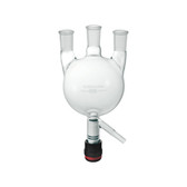 Chemglass CG-1523-V-04 3000mL Heavy Wall 3 Neck Round Bottom Flask with CG-911-A Drain Valve