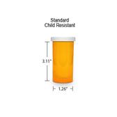 Amber Pharmacy Vials, Child Resistant Caps, 16 dram (1 oz)