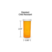 Amber Pharmacy Vials, Child Resistant Caps, 8 dram (1/2 oz)