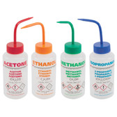 Dynalon Pre-Labeled Multi-Language Wash Bottle, Vented, 250mL, Set/5