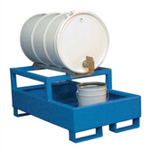 Denios 1-Drum Dispensing Pallet, Painted Steel