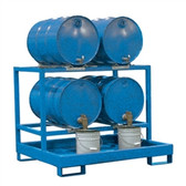 Denios 4-Drum Dispensing Pallet, Painted Steel