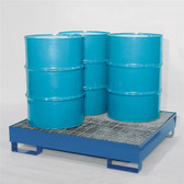 Denios 4-Drum Containment Spill Pallet, Painted Steel w/ Grating