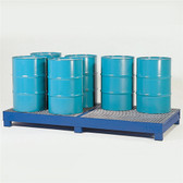 Denios 8-Drum Painted Steel Spill Pallet w/Grating