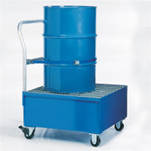 Denios 1-Drum Steel Painted Steel Spill Cart w/Grating