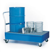 Denios 2-Drum Steel Painted Steel Spill Cart w/Grating