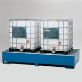 Denios 2-Tote IBC Containment Pallet, Sump, Painted Steel