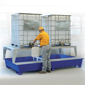 Denios 2-Tote IBC Containment Platform, 2 Dispensing Stands, Painted Steel