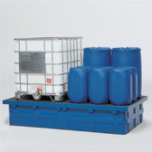 Denios 2-Tote IBC Containment Poly Pallet with Fiberglass Grating