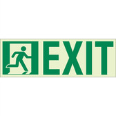 "EcoGlo Glow in the Dark ""Running Man, Exit"" Sign, 1-Sided, Unframed"
