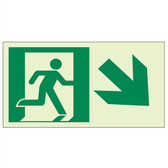 "EcoGlo Glow in the Dark ""Exit Down, to the Right"" Sign, 1-Sided, Unframed"