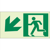 "EcoGlo Glow in the Dark ""Exit Down, to the Left"" Sign, 1-Sided, Unframed"