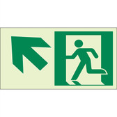 "EcoGlo Glow in the Dark ""Exit Up, to the Left"" Sign, 1-Sided, Unframed"