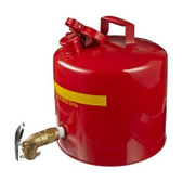 Eagle 1417 Faucet Can, 5 gallon EAGLE Red Steel Safety Can with Brass Faucet