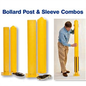 "Eagle 1743PS Combo Steel Bollard Post and 4"" Smooth Post Sleeve, 4.5"" x 36"" Yellow"