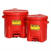 Eagle 937-FL 14 gal EAGLE Polyethylene Oily Waste Can, Foot Lever, Red or Yellow