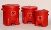 Eagle Biohazard Polyethylene Disposal Can, 6 Gallon, Red