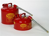 "Eagle U2-26-S x 5 Type II Safety Can, 2 gallon EAGLE Red with 5/8"" O.D. Flexible Spout"