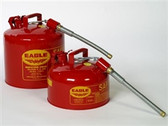"Eagle U2-51-S x 5 Type II Safety Can, 5 gallon EAGLE Red with 5/8"" O.D. Flexible Spout"