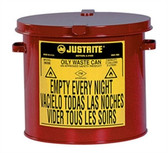 Justrite gal Countertop Oily Waste Can, Hand Operated Cover