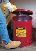 Justrite 10 gal Oily Waste Can, Foot Operated Cover, Red or Yellow
