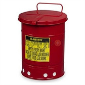 Justrite gal Oily Waste Can, Hand Operated Cover