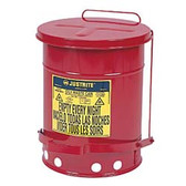 Justrite Oily Waste Can, 14 gal, Foot Operated Cover