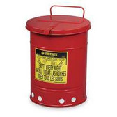 Justrite Oily Waste Can, 14 gal, Hand Operated Cover, Red or Yellow