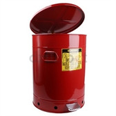 Justrite Oily Waste Can, 21 gal, Foot Operated Cover, Red or Yellow