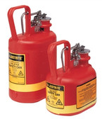 Justrite 1/2 gal Oval Polyethylene Type I Safety Cans w/ Steel Hardware