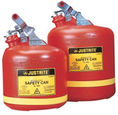 Justrite Safety Can, 5 gal, Polyethylene Type 1, Steel Hardware