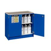 Justrite 24140 Wood Laminate Acid and Corrosive Cabinet, 90 Liter, blue